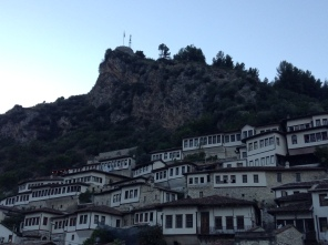 View of the old city of Berat in the early evening