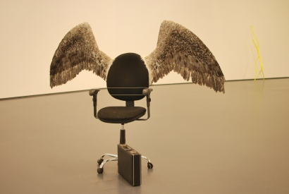 Throne (Feathers, metal structure, epoxy, office chair, electromoto, control electronics, 2011)