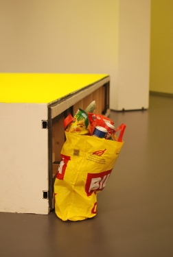 I Am Sick of It All (Sound, electro-mechanical instrument, cucumber, plastic bag, 2003)